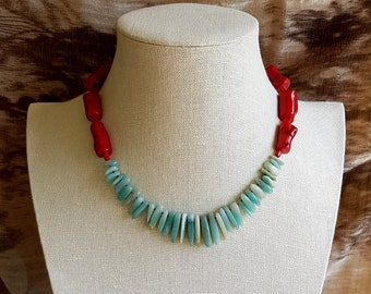 Necklace of Amazonite and Bamboo Coral.