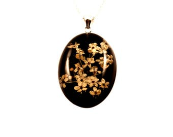 Elderflower Blossoms Necklace, Resin Pendant, Sterling Silver Bail, Sterling Silver Chain, Mother's Day, Valentines, Birthday