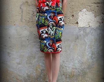 Pencil skirt high waist horror zombie monster frankenstein leopard rockabilly rétro pin up psychobilly tattoo punk pois