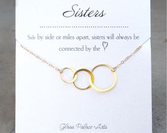 Three Sisters Necklace Gift, Three Sisters Jewelry, Sister Eternity Three Circle Necklace Gift, Three Ring Necklace, Sisters Forever Jewelry