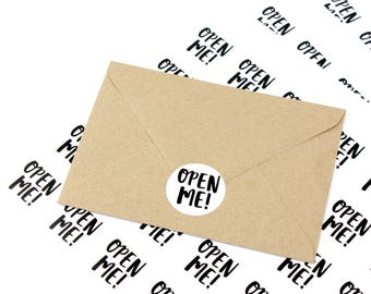 Packaging stickers 'open me!' - mail stickers - post labels - envelope stickers - happy mail stickers - open me stickers - wedding stickers