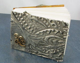 Metal Book, Coptic Bound, journal, memories, photos, poems, vintage brass accent