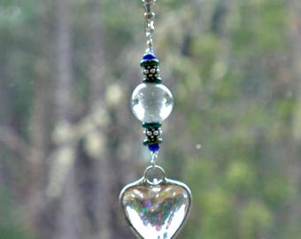 Soldered Art Heart Charm Key RIng - Large Key Ring - Heavy Key Ring