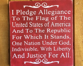 Pledge of Allegiance Wood Board