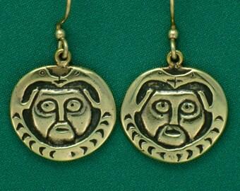 Otter & Sun Face- Northwestern Tribal -Bronze- Earrings