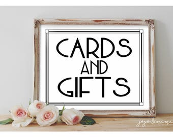 Instant 'CARDS AND GIFTS' Printable Event Sign Wedding Baby Shower Party Printable Modern Black White Design Size Options