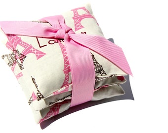 French Lavender Sachets . Scented drawer sachets . EIFFEL TOWER . Printed cotton