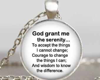 Serenity prayer  necklace ,Serenity prayer jewelry , serenity prayer black white  religious jewelry, inspirational necklace