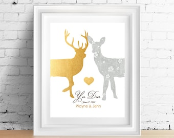 Husband gift Wedding gifts Faux Gold Wedding gift for couple Deer sign 1st Paper Anniversary Bridal Shower Rustic wedding Gift for Wife