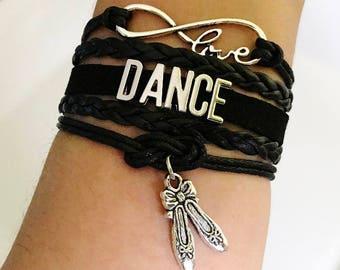 Dance bracelet, Dancer gift, Gift for Dancer, Dance Teacher gift, Coach jewelry, Dance Music jewelry, Dancing jewelry, Black Color