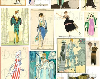 COLLAGE. Instand Download Digital Collage. Vintage Flappers 17 Art Deco Fashion Plates/Illustrations//All Different Sizes Collage.