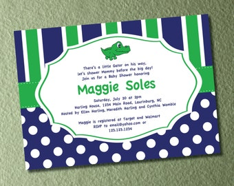 Little Gator Baby Shower - Navy and Green Preppy Invitation and Envelope