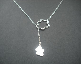 Sterling Silver Chain - line art clouds lariat