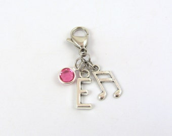 Music Zipper Charm- choose a birthstone and initial, Music Zipper Pull, Music Bag Charm, Music Accessories, Piano Bag Charm, Music Notes