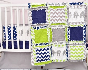Elephant Crib Bedding Crib Set - Navy / Green / Gray Nursery- Safari Nursery - Jungle Crib Bedding - Elephant Blanket, Bumpers, Sheet, Skirt