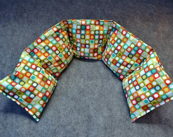 Microwave Heating Pad, Neck Heating Pad, Heated Neck Wrap, Corn Bag Heating Pad for Neck Pain, Gift for Him -- Neck 5x30 -- Dotted Bricks