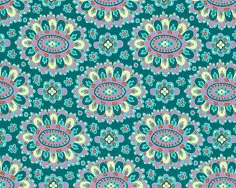 Cotton Amy Butler Cotton Cloisonné in Lake from the Eternal Sunshine Collection 1/2 Yard