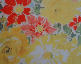 Vintage 1950s All Occasion Gift Wrap Floral Print Wrapping Paper Apricot Roses 2 Sheets