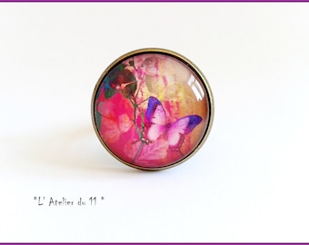 """Ring """"Pink butterfly"""" cabochon 20 mm"""