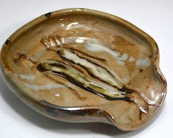 Spoon Rest, Beige Ceramic Spoon Rest, Ceramics,  Pottery,  Spoon Dish