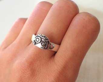 BB-8  Silver Ring (Star Wars The Force Awakens Inspired)
