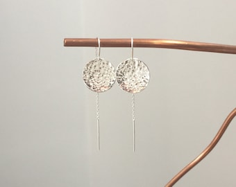 Handmade Sterling Silver Threader Earrings with Large Hammered Disc Dangle