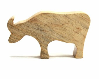 Wooden Toy for Kids, Water Buffalo, Cattle Decor, Natural Wood Toy, Show Cattle, Cow, Asian Animal, Wood Toy, Waldorf Toy