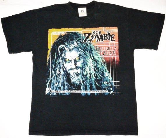 ROB ZOMBIE promo concert white 90s industrial VINTAGE t rock shirt metal tour 5qCfBwEx