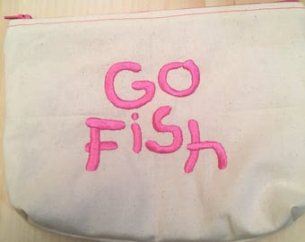 Embroidered Zipper Pouch-Go Fish (EZip 4)
