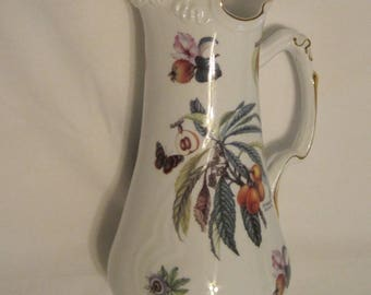 Perfect Vintage Porcelain Pitcher with Botanical Prints and Gilt Trim