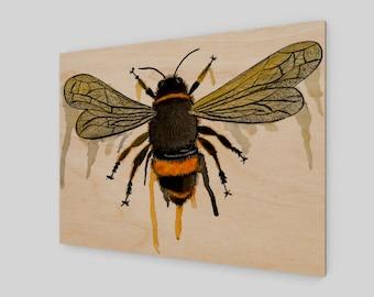 Bumble Bee Drip Wood Panel Wall Art