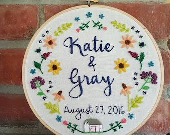 Wedding. Anniversary. Embroidery. Personalized. Gift. Embroidery Hoop. Flowers. Hoop Art. Decor. Hand Embroidery. Wildflowers.  Bridal. Hoop