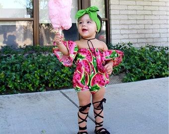 Watermelon romper, fruit romper, baby girl romper, Handmade Baby Girl romper, summer romper, Girl summer romper, Off the shoulder designs