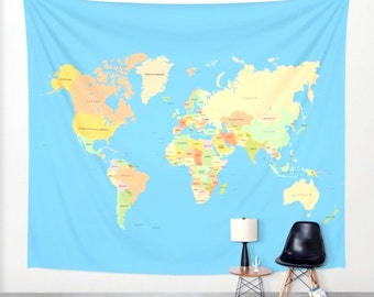 World map tapestry etsy modern world map tapestry gumiabroncs Gallery