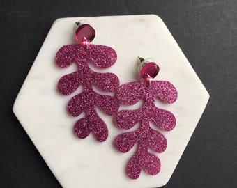 Pink Glitter Fern Frond Earrings. Acrylic Statement Earrings. Push Stud Back. Large Plant Earrings. Shiny Laser Cut.