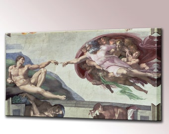 Michelangelo Creation of Adam Sistine Chapel Wall Decor Religious Gift Canvas Wall Art Print Ceiling Renaissance Ready To Hang