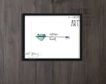 Courage, Dear Heart | C.S. Lewis Quote | Watercolor Arrow | Printable Wall Art | Christian Printable Quote | Downloadable Prints