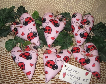 Set of 6 Fabric Ladybug Hearts - Ornaments - Valentine Decor - Bowl Fillers - Wreath or Garland-Making