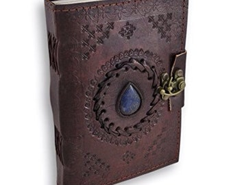 Leather Journal Embossed with Blue Stone, Notebook, Diary, Travel, Has Clasp