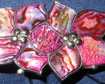 "VINI Enameled Floral Brooch Silver, Pink/Purple Abalone Design in Silver Setting, 2""x 1"" (#772)"