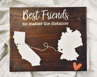 Best Friend Gift | Best Friends Long Distance Map | Distance Relationship | Gift For Sister | Two States Map | Map Sign