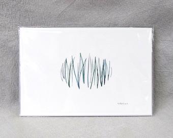 ORIGINAL abstract gouache painting, 4x6 inch green botanical stripes, delicate calm neutral wall decor, gallery wall housewarming art gift