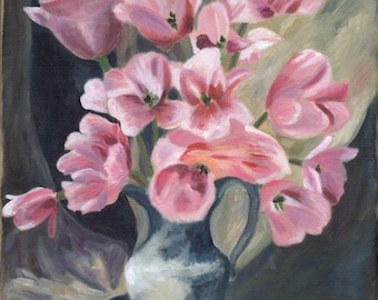 Pink Tulips, 8 x 10 giclee print, still life, flowers