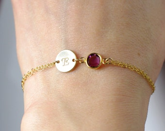 Birthstone bracelet, Personalized birthstone bracelet, February birthstone, Personalized bracelet, Initial bracelet, Bridesmaid bracelet