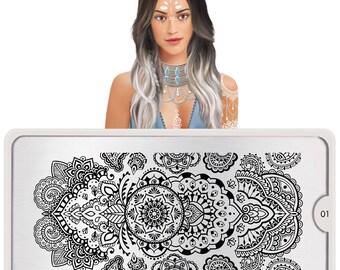 MoYou London Nail Stamping Plate Henna 01