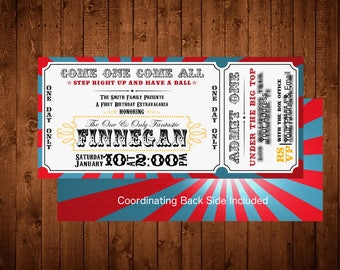 Printable Customized 4x8 Circus Ticket Party Invitation