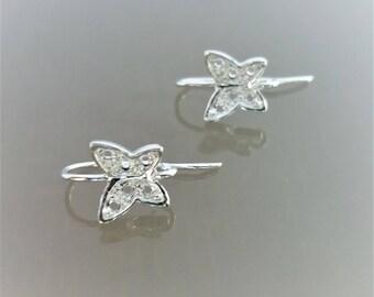 2 openwork butterfly earrings