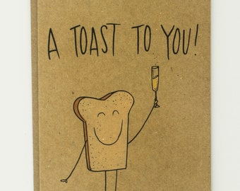 A Toast To You Punny Bread Illustrated Card, Wedding Card