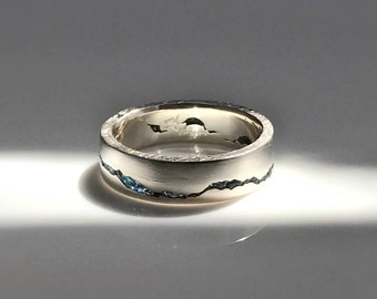Glacier Mountain Ring, 6mm band, Handcrafted Gemstone Inlay, Handcrafted Recycled Silver, Gold, Palladium, Platinum, Mountain Wedding Band