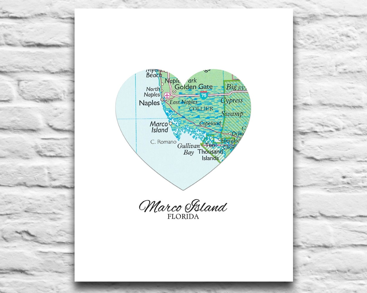 Marco Island Florida Vintage Heart Map DIGITAL DOWNLOAD for